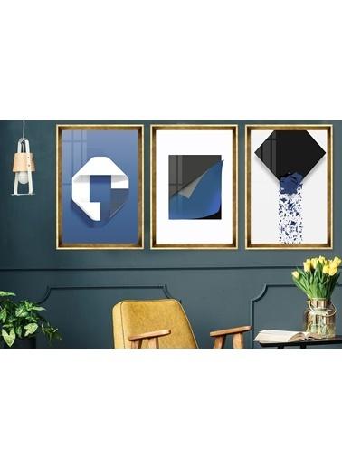 Çerçeve Home  İskandinav Blue Abstract Gold Çerçeve Tablo Seti Altın